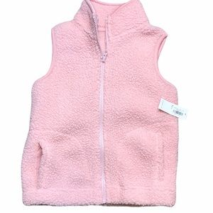 NWT - Old Navy Faux Pink Fux Full Zip Vest - SZ S